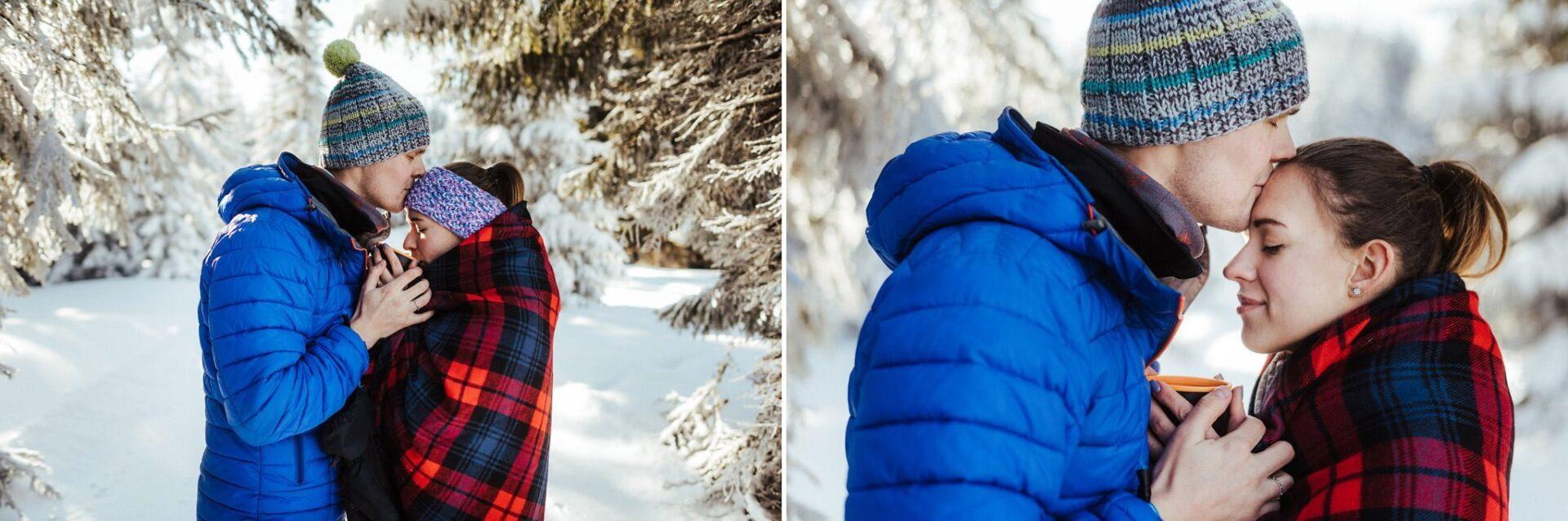 Zimowa sesja narzeczeńska w górach 25